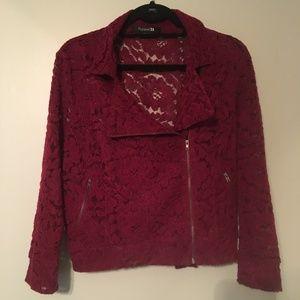 Burgandy Lace Moto Jacket
